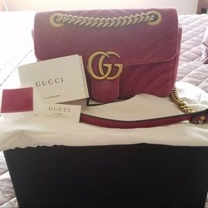 Handbags - Gucci Velvet Marmont Pink Velvet New Condition